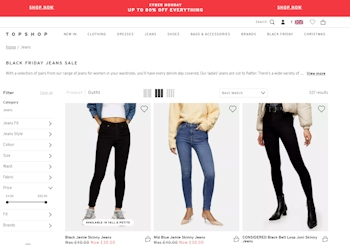 Trending TopShop jeans international delivery